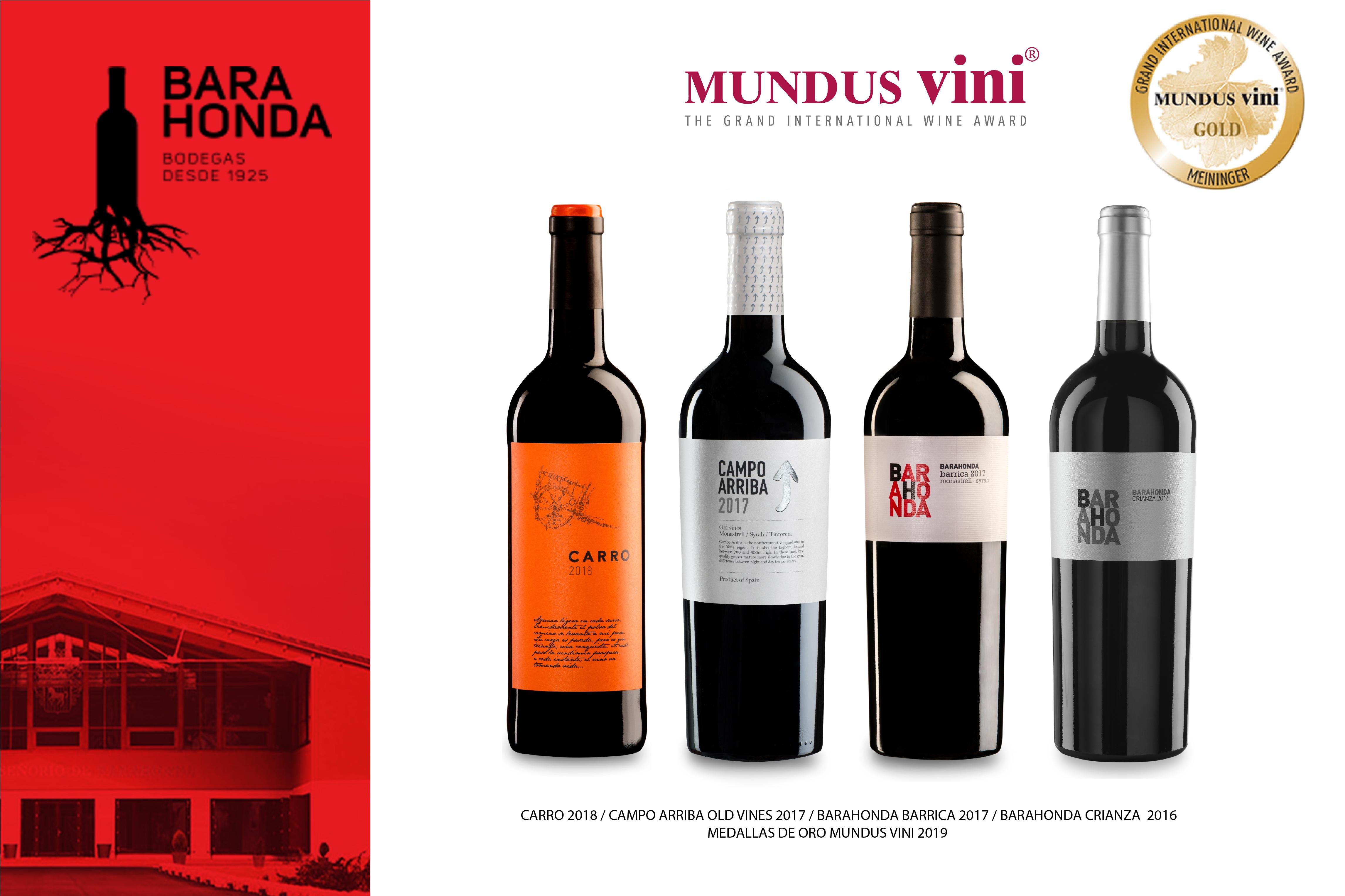 Cuatro vinos de Barahonda premiados con medalla de oro en Mundus Vini